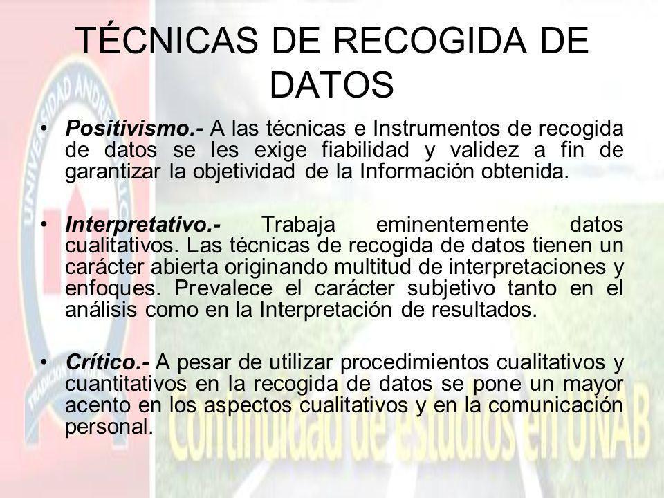 TÉCNICAS DE RECOGIDA DE DATOS