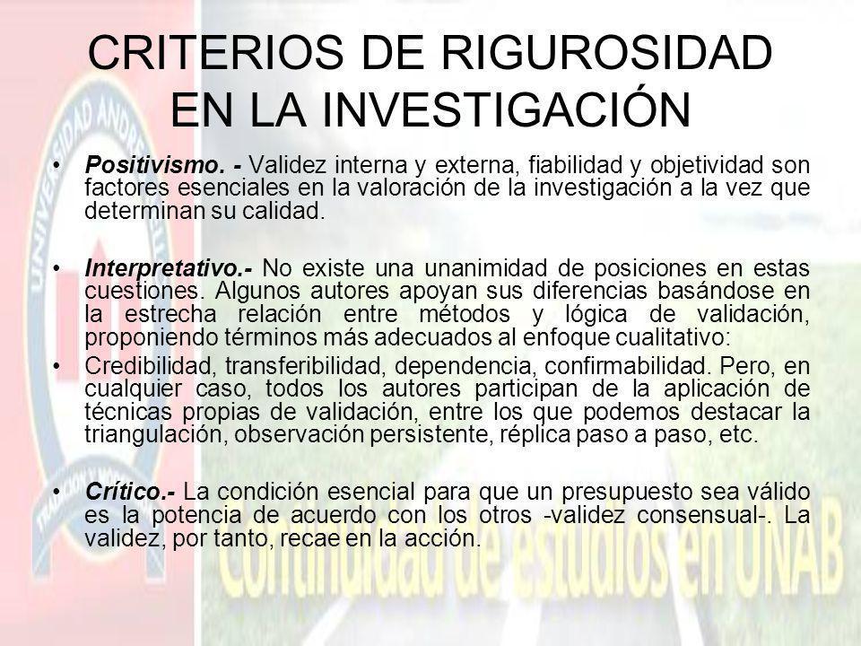 CRITERIOS DE RIGUROSIDAD EN LA INVESTIGACIÓN