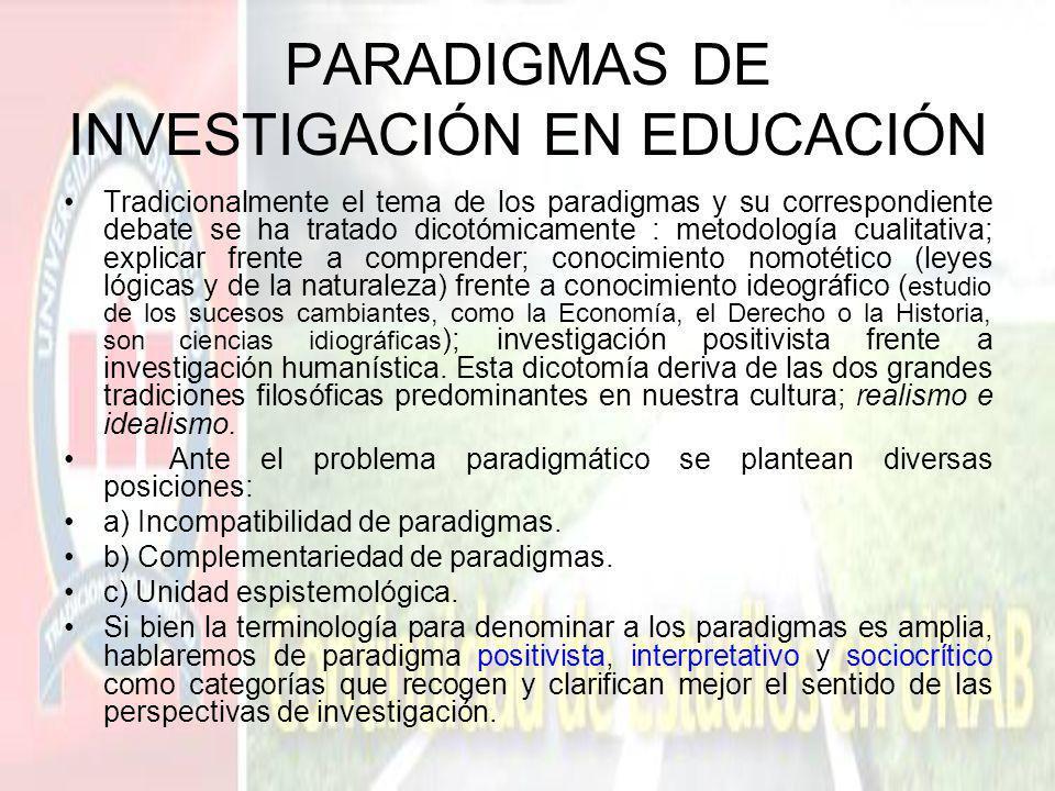 PARADIGMAS DE INVESTIGACIÓN EN EDUCACIÓN