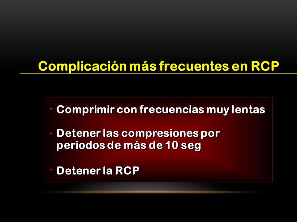 Complicación más frecuentes en RCP