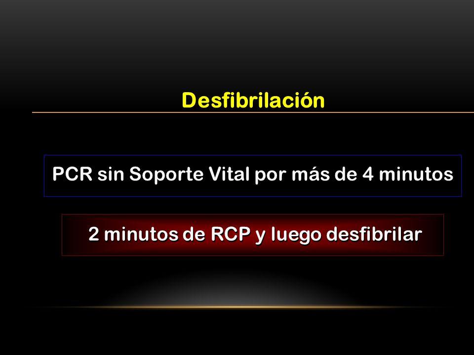 Desfibrilación PCR sin Soporte Vital por más de 4 minutos