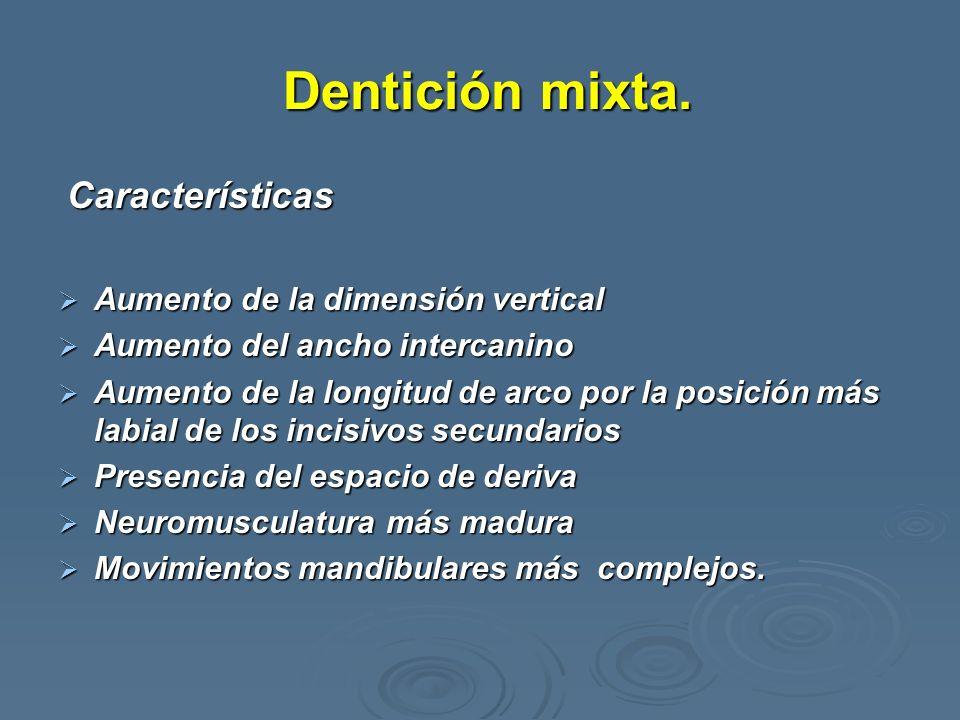 Dentición mixta. Características Aumento de la dimensión vertical