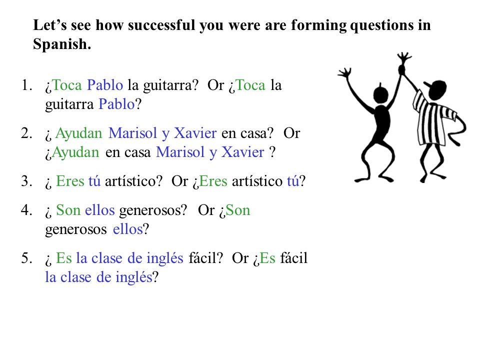 Let's see how successful you were are forming questions in Spanish.