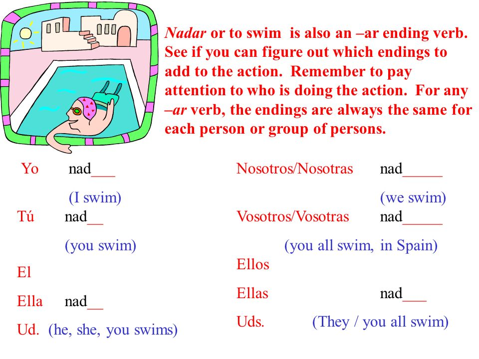 Nadar or to swim is also an –ar ending verb