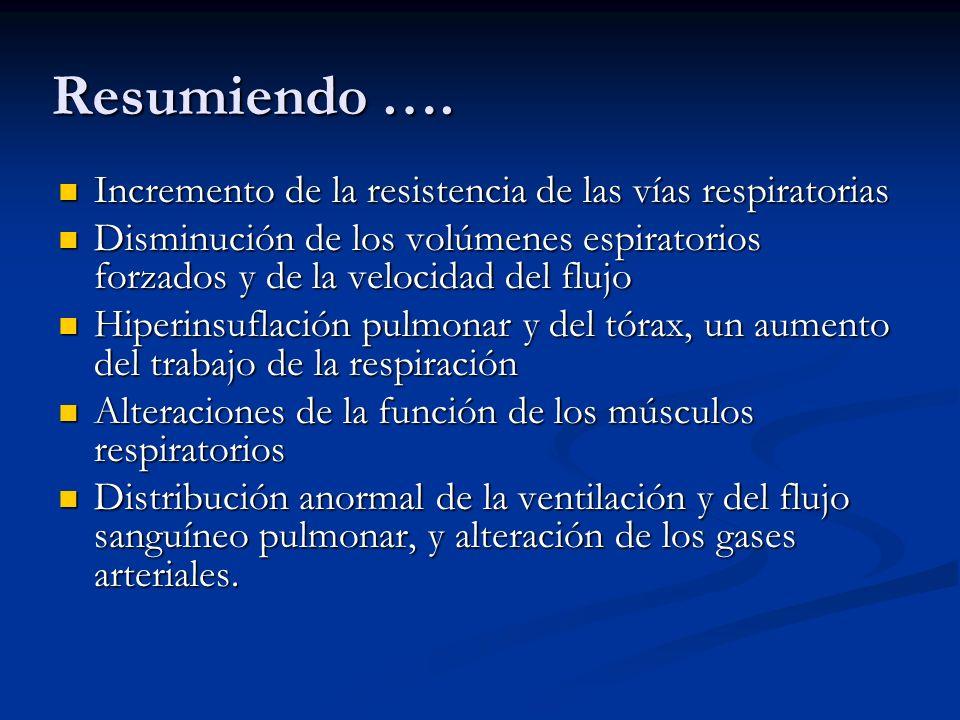 Resumiendo …. Incremento de la resistencia de las vías respiratorias
