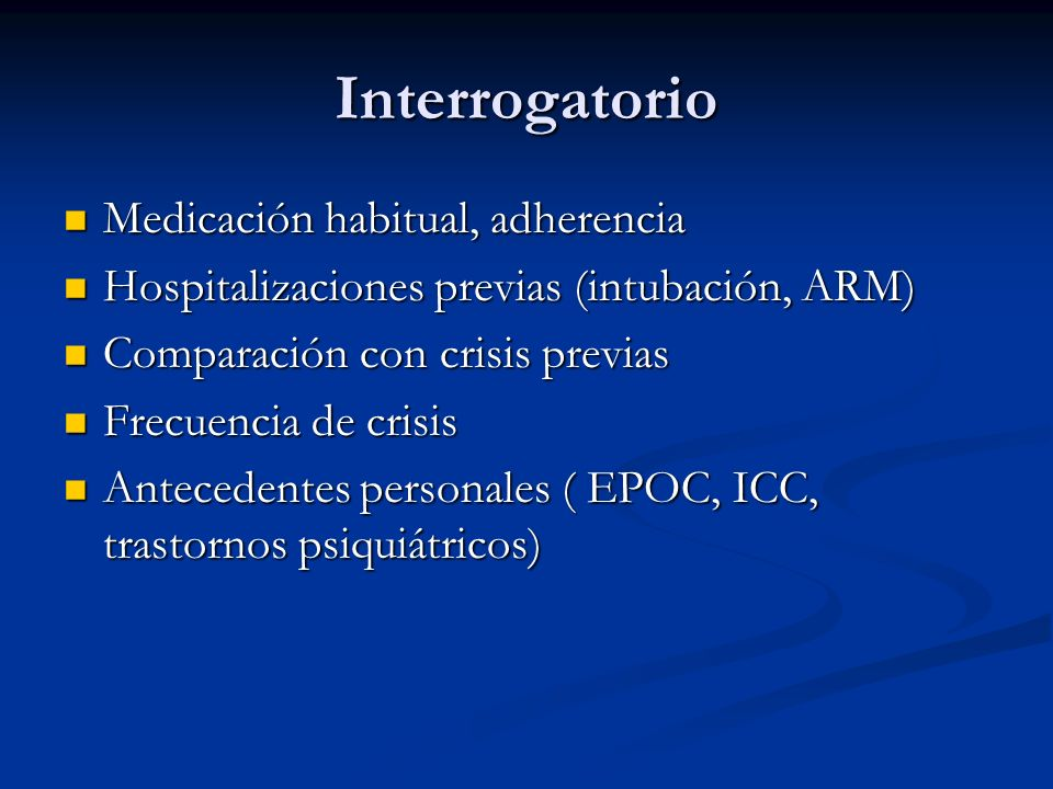 Interrogatorio Medicación habitual, adherencia