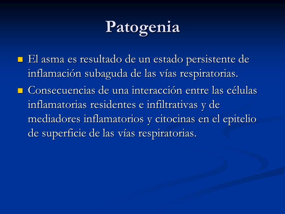 Patogenia El asma es resultado de un estado persistente de inflamación subaguda de las vías respiratorias.