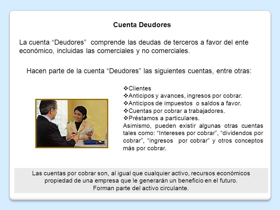 Cuenta Deudores La cuenta Deudores comprende las deudas de terceros a favor del ente económico, incluidas las comerciales y no comerciales.