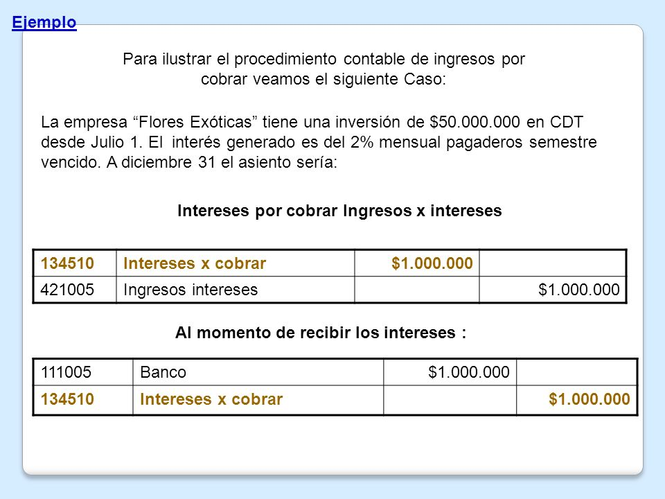 Intereses por cobrar Ingresos x intereses 134510 Intereses x cobrar