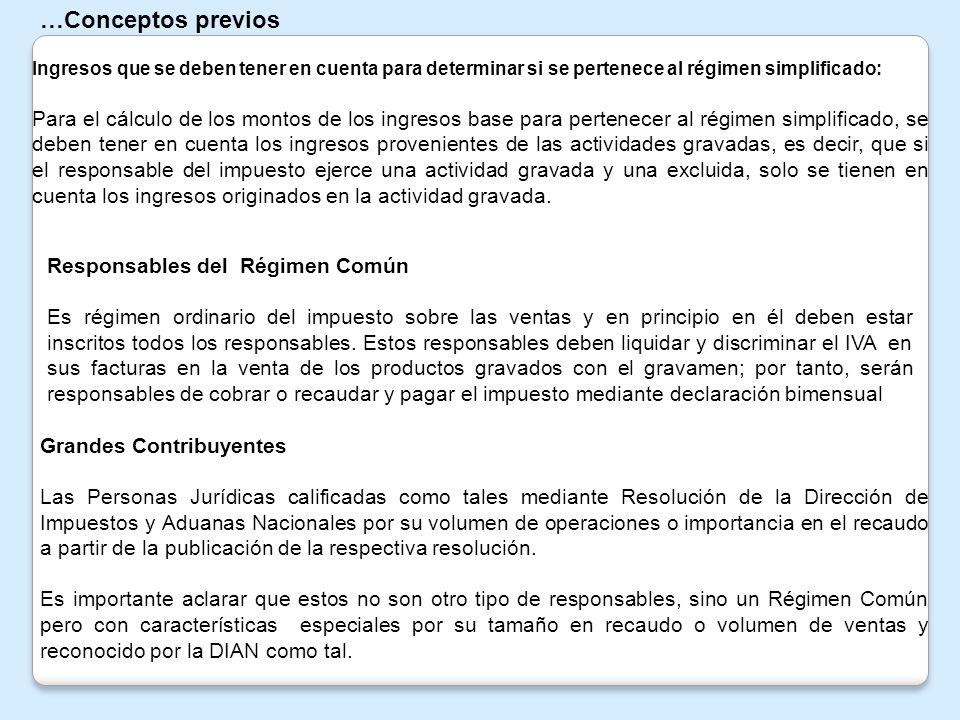 …Conceptos previos Ingresos que se deben tener en cuenta para determinar si se pertenece al régimen simplificado: