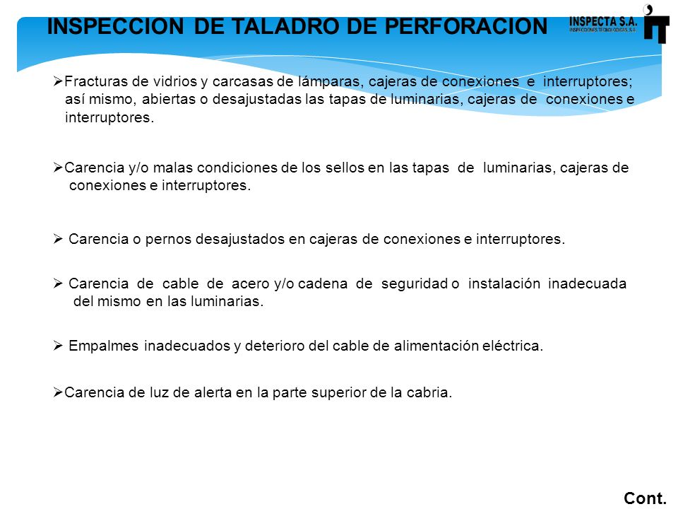 INSPECCION DE TALADRO DE PERFORACION