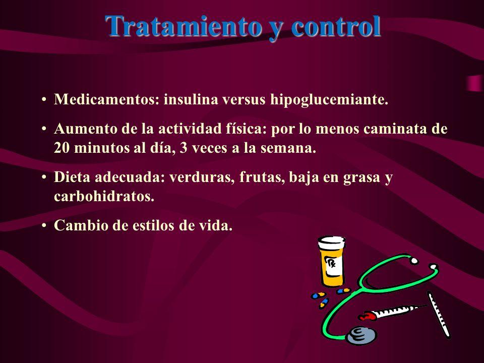 Tratamiento y control Medicamentos: insulina versus hipoglucemiante.
