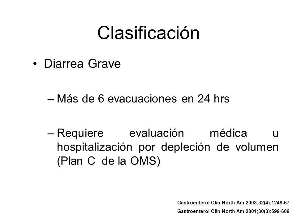 Clasificación Diarrea Grave Más de 6 evacuaciones en 24 hrs