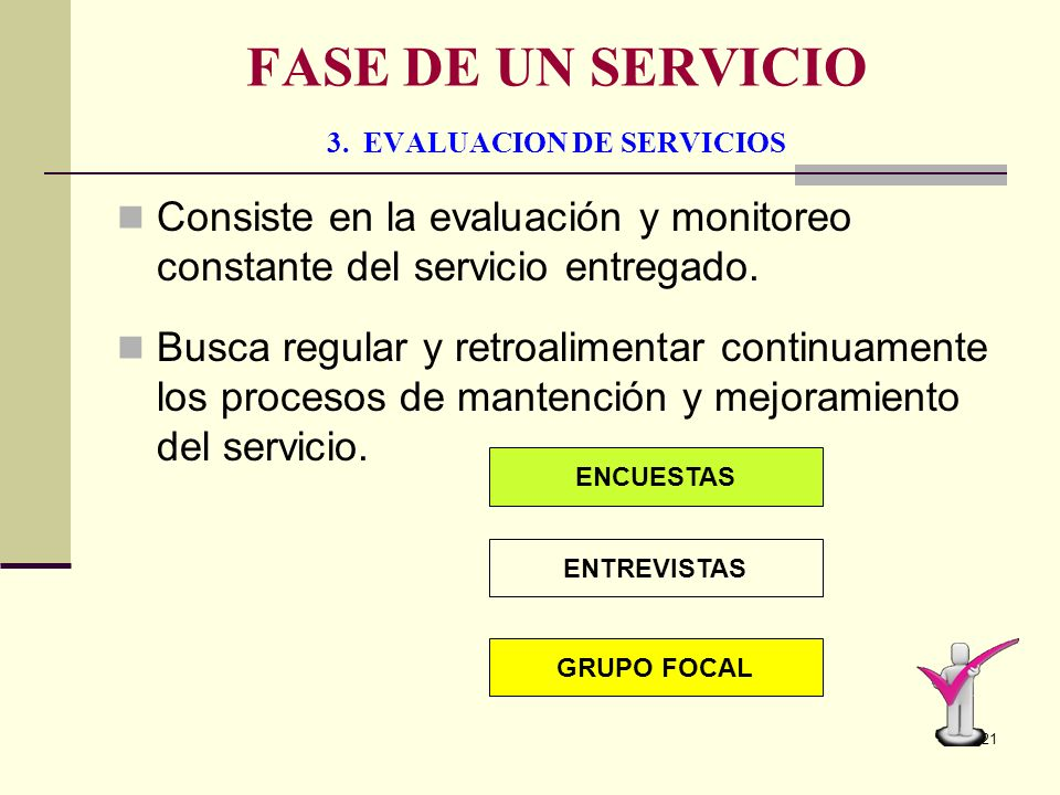 FASE DE UN SERVICIO 3. EVALUACION DE SERVICIOS