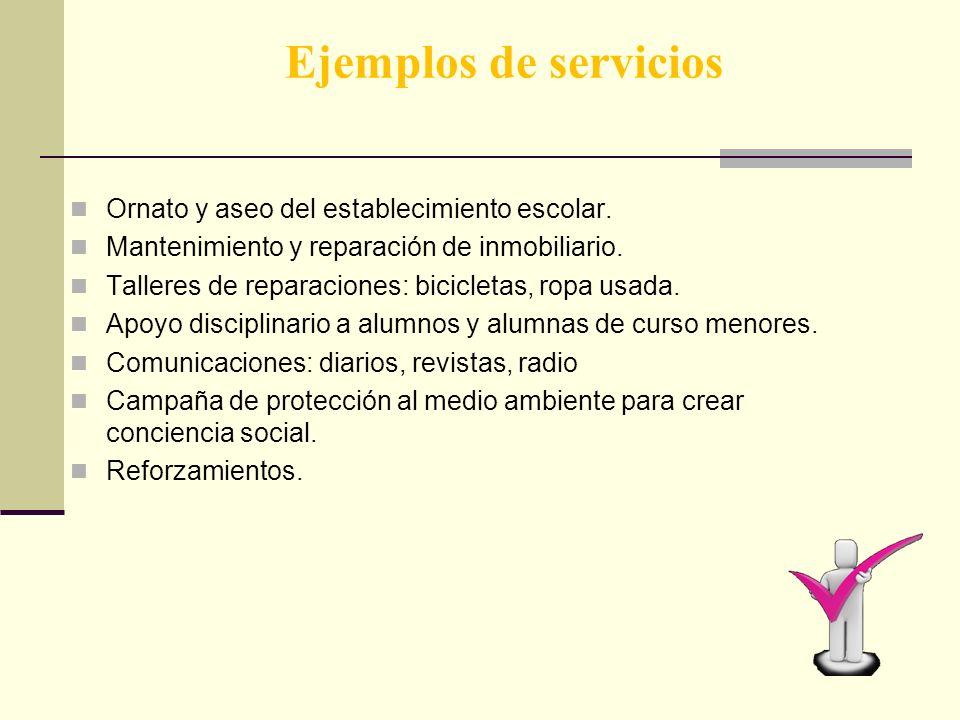 Ejemplos de servicios Ornato y aseo del establecimiento escolar.