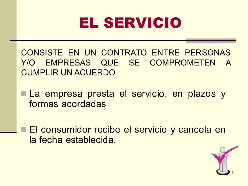EL SERVICIOCONSISTE EN UN CONTRATO ENTRE PERSONAS Y/O EMPRESAS QUE SE COMPROMETEN A CUMPLIR UN ACUERDO.