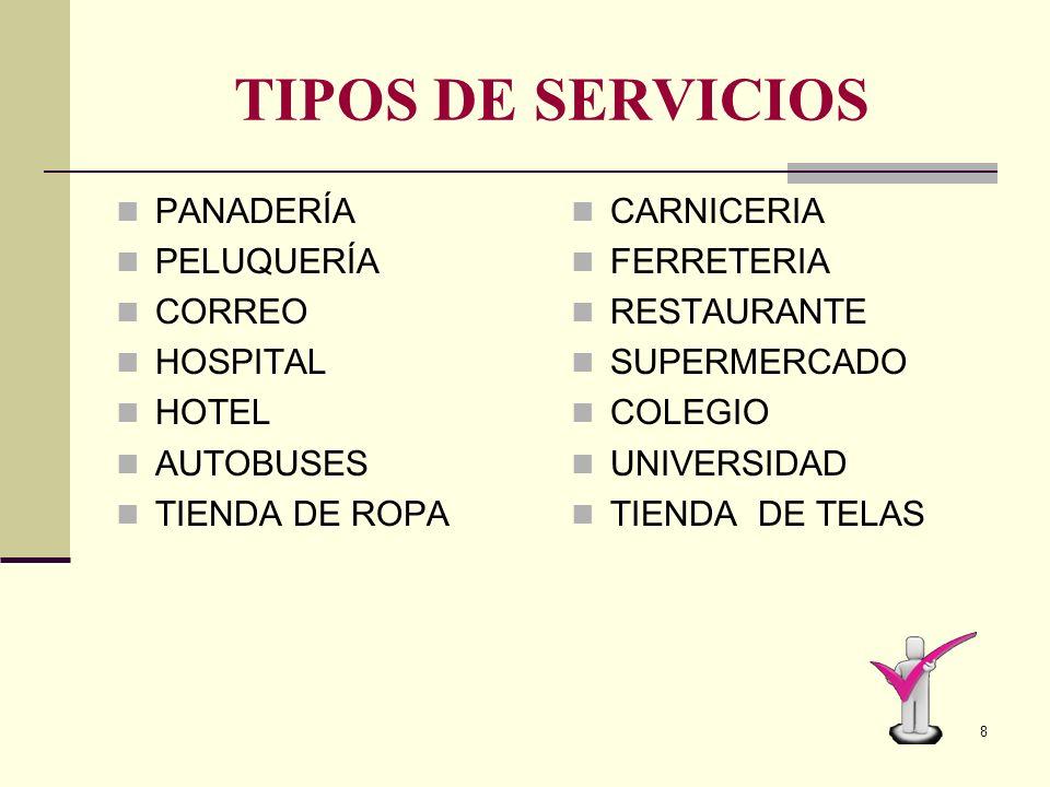 TIPOS DE SERVICIOS PANADERÍA PELUQUERÍA CORREO HOSPITAL HOTEL