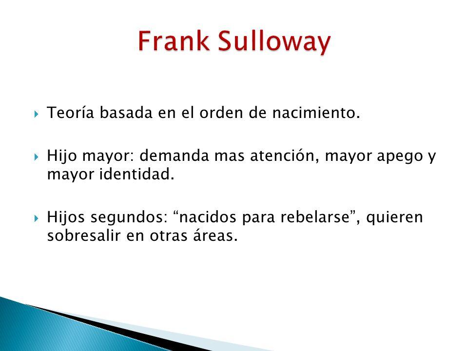 Frank Sulloway Teoría basada en el orden de nacimiento.