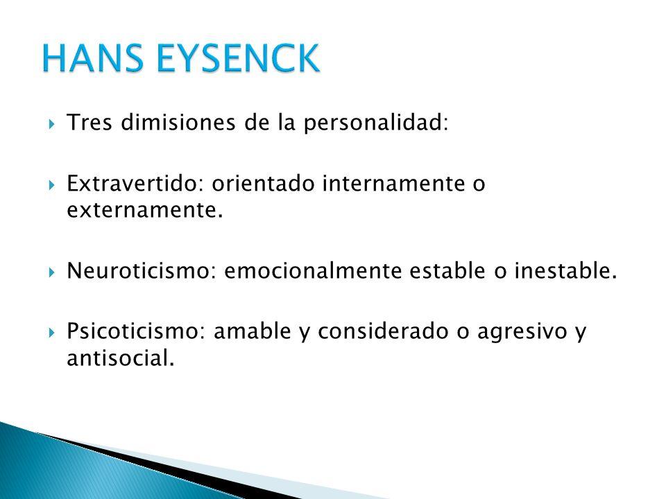 HANS EYSENCK Tres dimisiones de la personalidad: