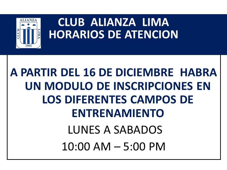 CLUB ALIANZA LIMA HORARIOS DE ATENCION