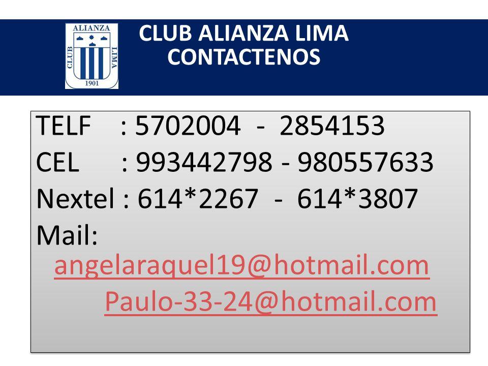 CLUB ALIANZA LIMA CONTACTENOS
