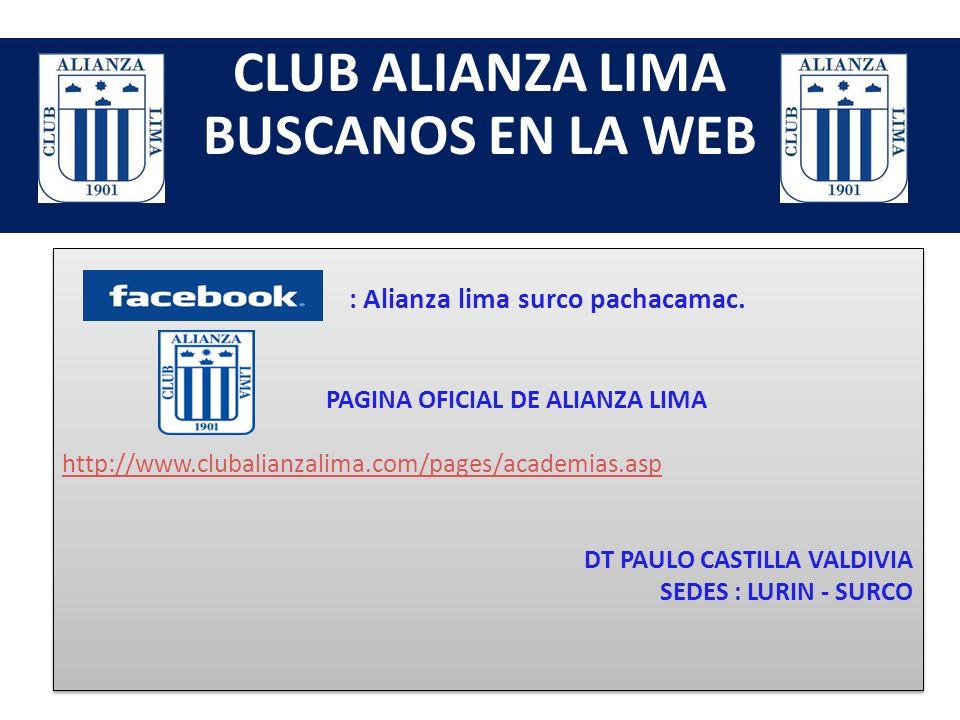 CLUB ALIANZA LIMA BUSCANOS EN LA WEB