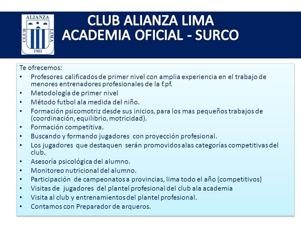 CLUB ALIANZA LIMA ACADEMIA OFICIAL - SURCO