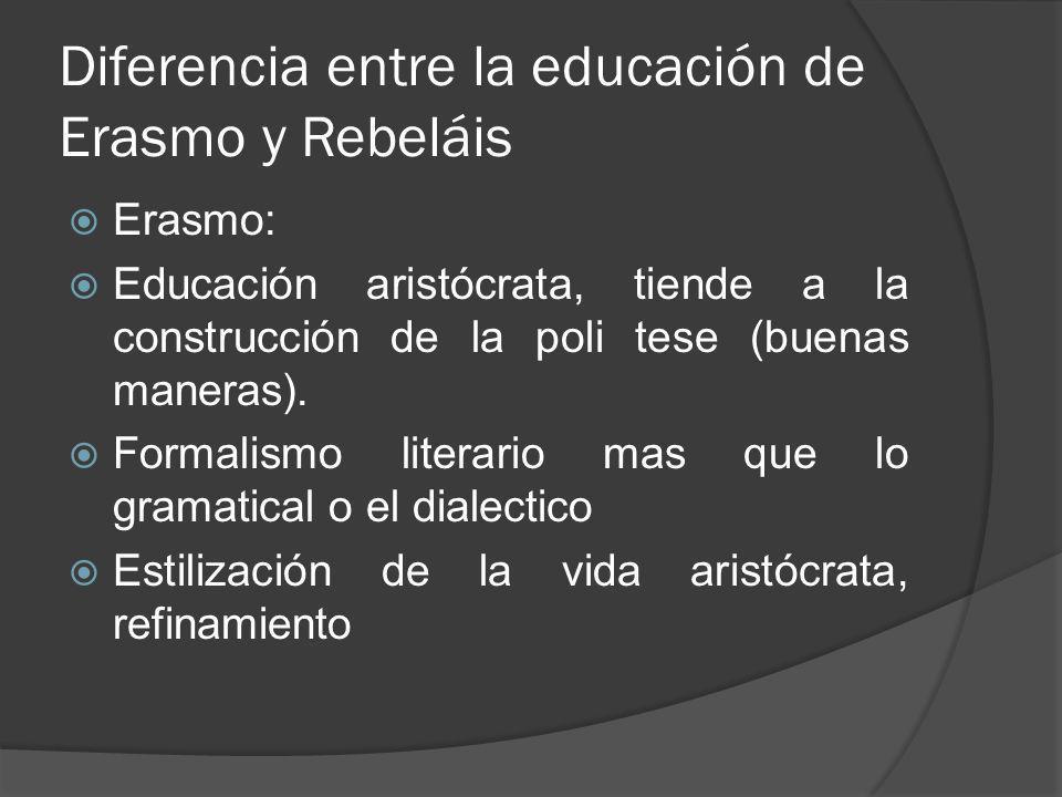 Diferencia entre la educación de Erasmo y Rebeláis