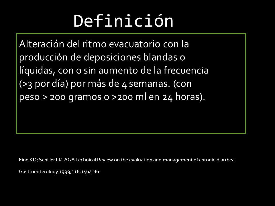 Definición Alteración del ritmo evacuatorio con la
