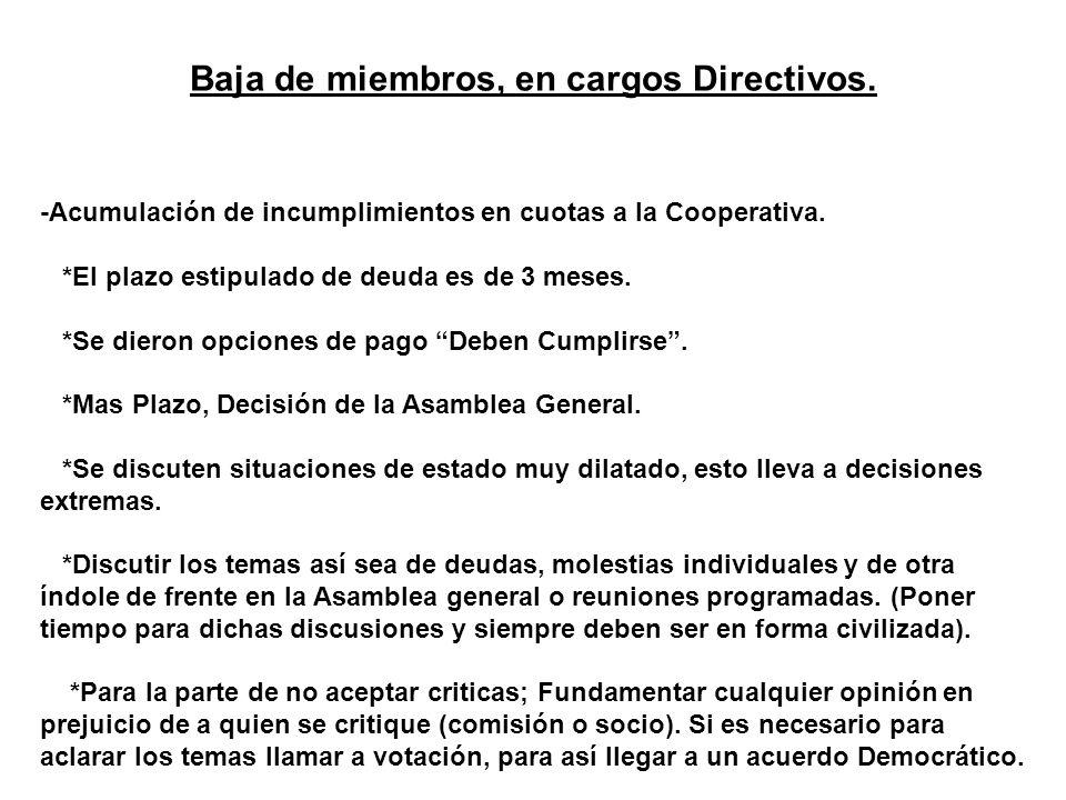 Baja de miembros, en cargos Directivos.