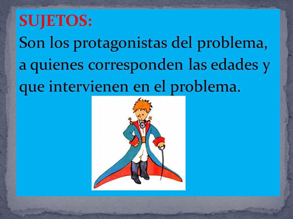 SUJETOS: Son los protagonistas del problema, a quienes corresponden las edades y que intervienen en el problema.