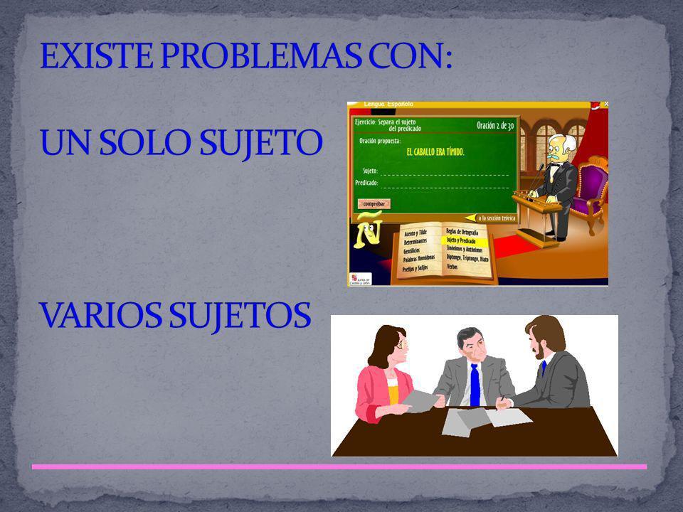 EXISTE PROBLEMAS CON: UN SOLO SUJETO VARIOS SUJETOS
