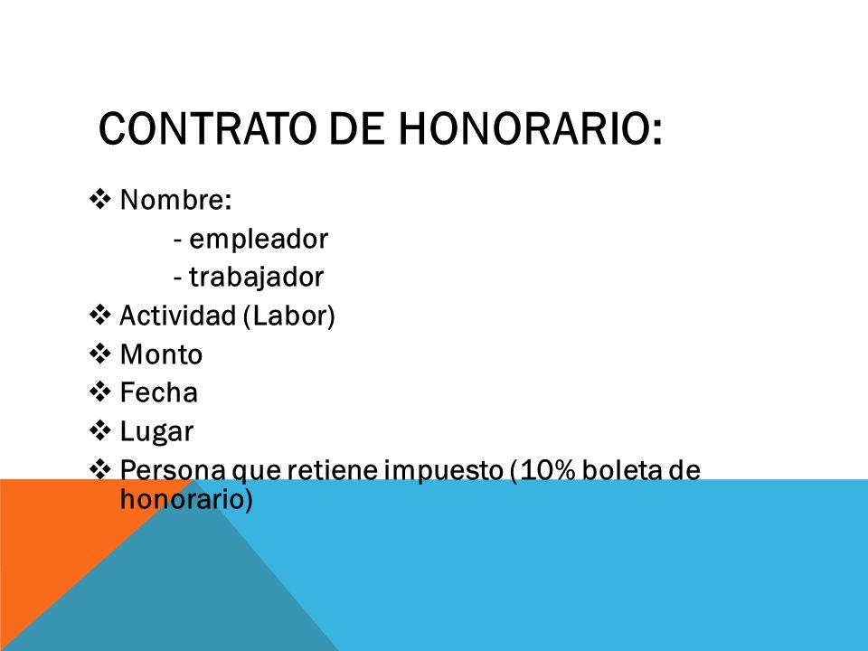 CONTRATO DE HONORARIO: