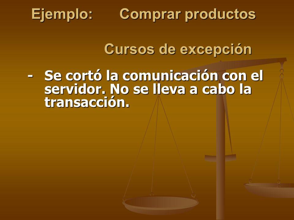 Ejemplo: Comprar productos Cursos de excepción
