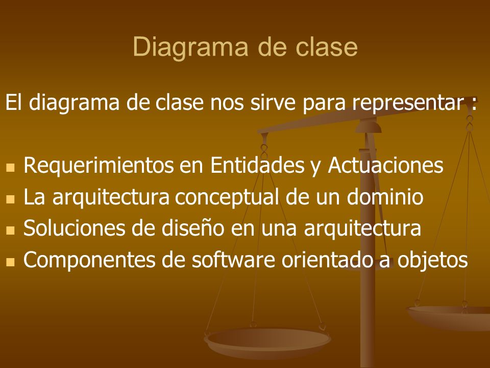 Diagrama de clase El diagrama de clase nos sirve para representar :