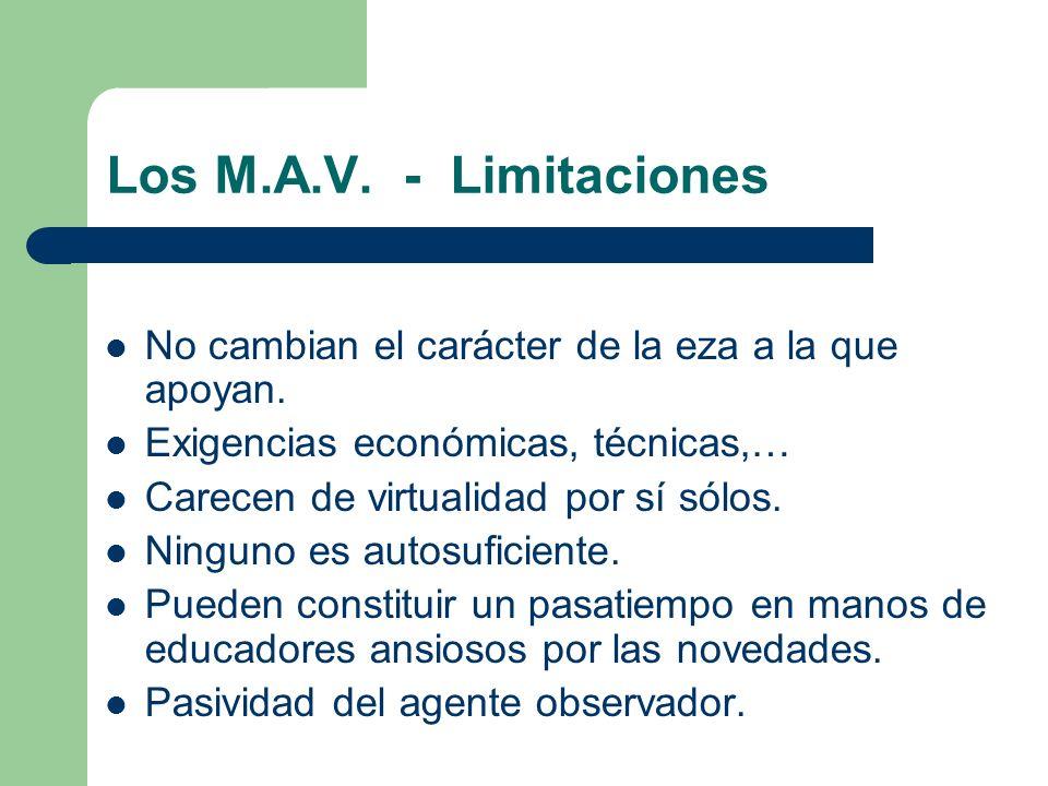 Los M.A.V. - Limitaciones No cambian el carácter de la eza a la que apoyan. Exigencias económicas, técnicas,…