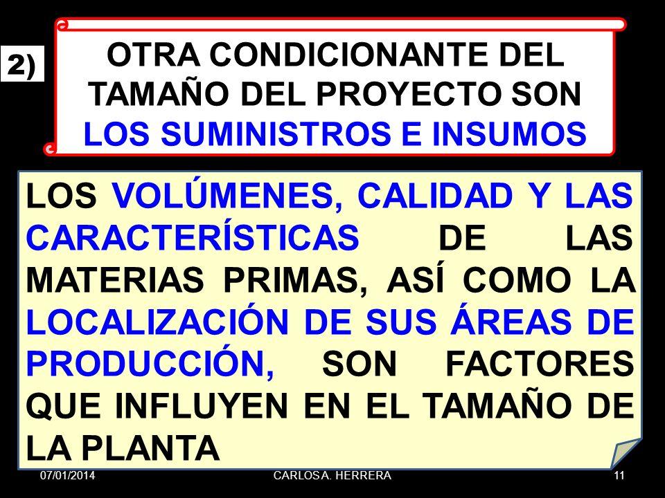 OTRA CONDICIONANTE DEL TAMAÑO DEL PROYECTO SON LOS SUMINISTROS E INSUMOS