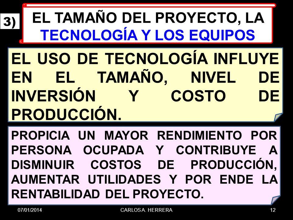EL TAMAÑO DEL PROYECTO, LA TECNOLOGÍA Y LOS EQUIPOS