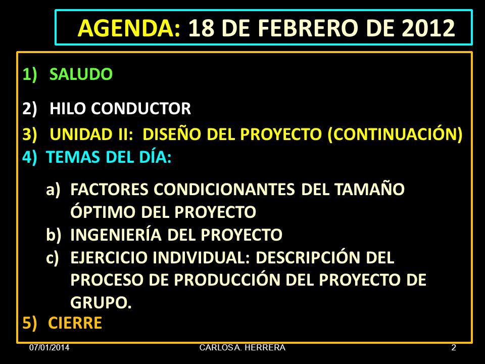 AGENDA: 18 DE FEBRERO DE 2012 SALUDO HILO CONDUCTOR