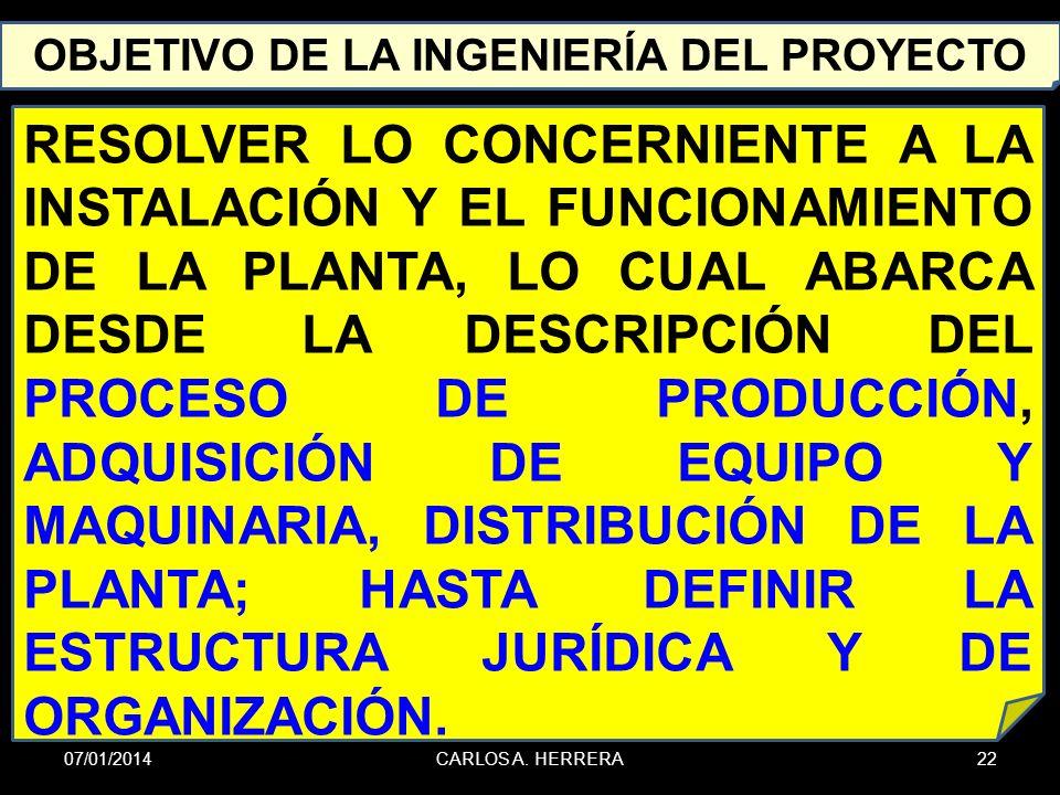 OBJETIVO DE LA INGENIERÍA DEL PROYECTO