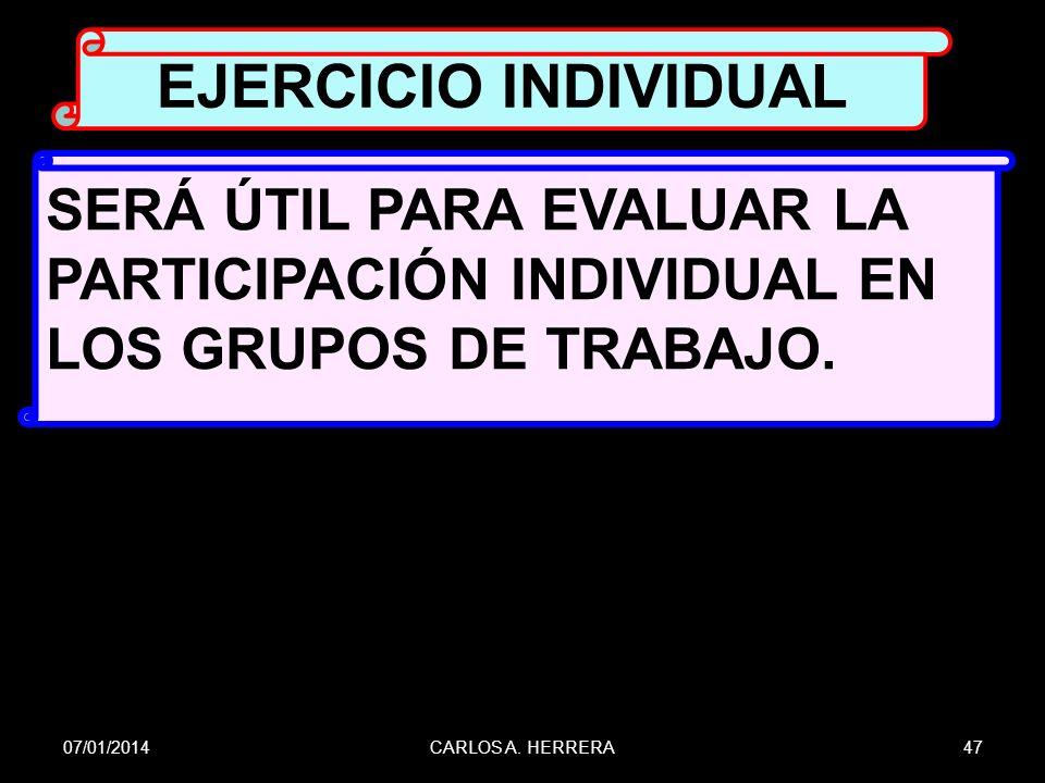 EJERCICIO INDIVIDUAL SERÁ ÚTIL PARA EVALUAR LA PARTICIPACIÓN INDIVIDUAL EN LOS GRUPOS DE TRABAJO. 24/03/2017.