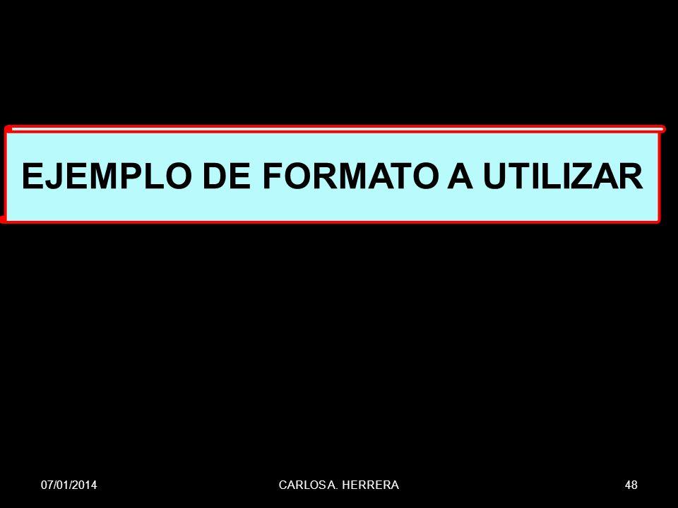EJEMPLO DE FORMATO A UTILIZAR