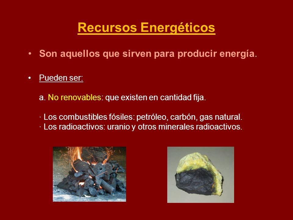 Recursos Energéticos Son aquellos que sirven para producir energía.