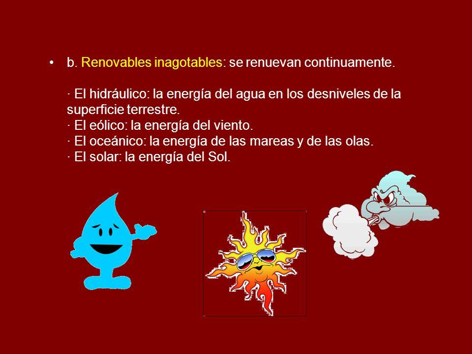 b. Renovables inagotables: se renuevan continuamente