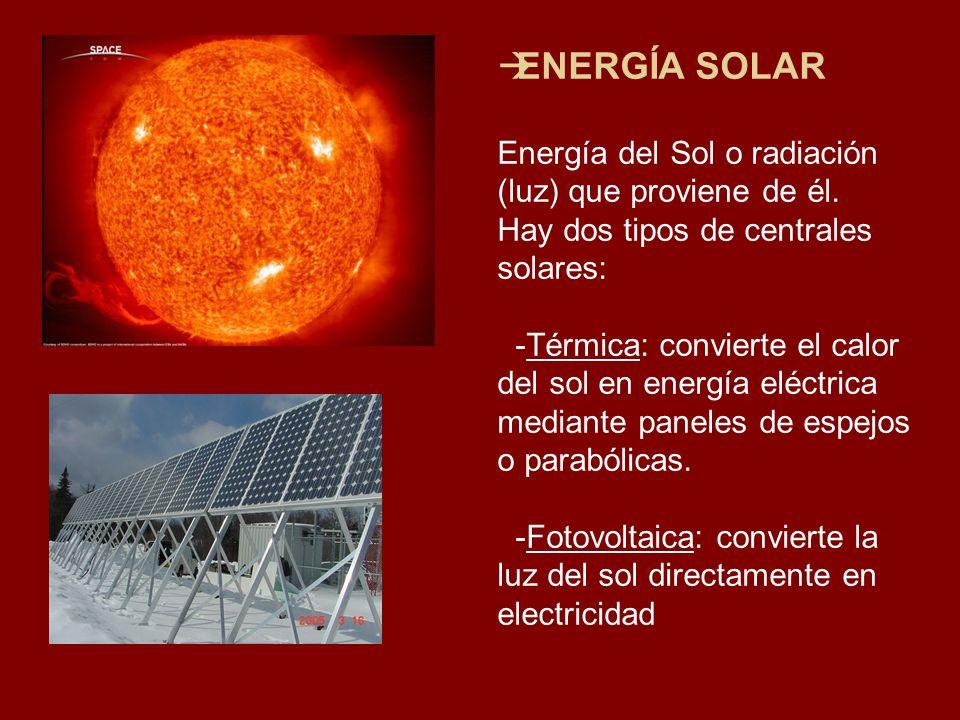 ENERGÍA SOLAR Energía del Sol o radiación (luz) que proviene de él.