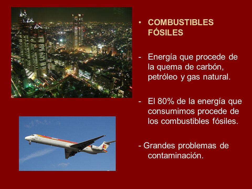 COMBUSTIBLES FÓSILES Energía que procede de la quema de carbón, petróleo y gas natural.