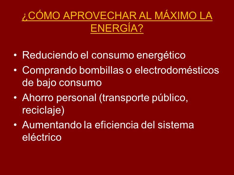 ¿CÓMO APROVECHAR AL MÁXIMO LA ENERGÍA