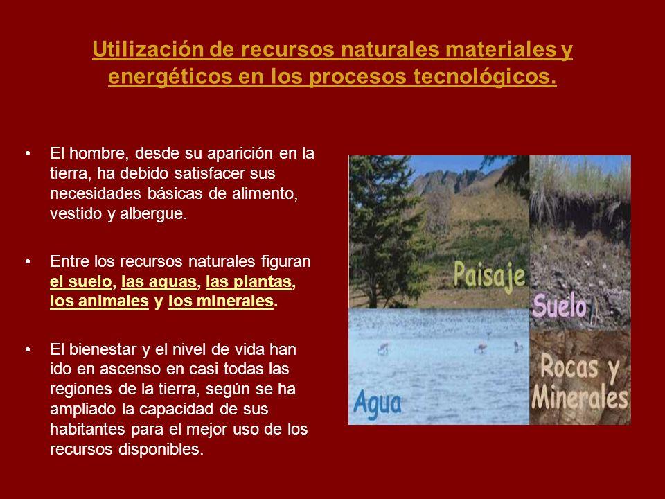 Utilización de recursos naturales materiales y energéticos en los procesos tecnológicos.