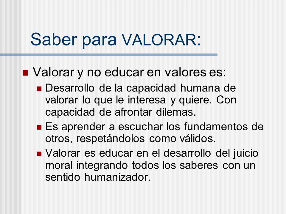 Saber para VALORAR: Valorar y no educar en valores es: