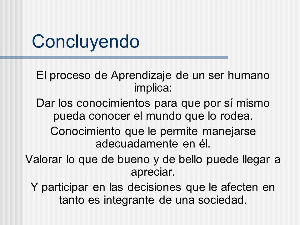 Concluyendo El proceso de Aprendizaje de un ser humano implica: